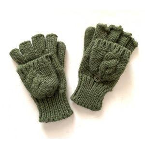 Accessories - Sage Green Fingerless Gloves Mittens